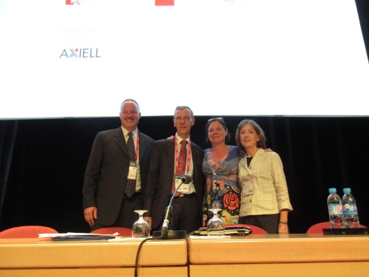 From the program on authentication of legal gazettes worldwide, left to right: Charley Barth, Office of the Federal Register; Didier François, French Directorate of Legal and Administrative Information; Martine Reicherts, European Union Commissioner for Justice, Citizenship and Fundamental Rights; and Sally Holterhoff, Valparaiso University Law School and former President of the American Association of Law Libraries.