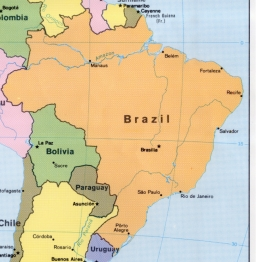 Map of Brazil and surrounding countries