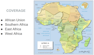 Map of African continent with list of Coverage: African Union, Southern Africa, East Africa, West Africa