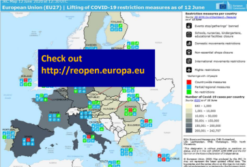 Map of Europe including color coding and labels, with Check out http://reopen.europe.eu overlay, website where live version of map can be located