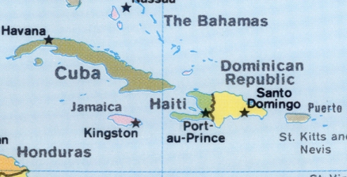 Map of Cuba, Haiti, Dominican Republic, Honduras, etc.