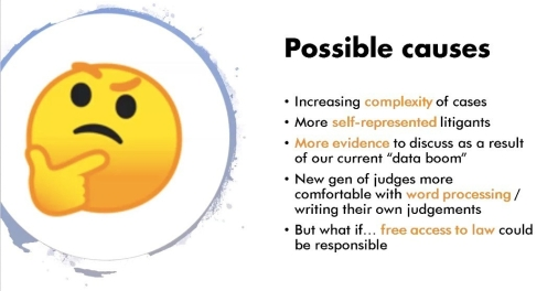 """Slide - Text: Possible Causes: Increasing complexity of cases, More self-represented litigants, More evidence to discuss as a result of our current """"data boom"""" New gen of judges more comfortable with word processing/writing their own judgments, But what if"""
