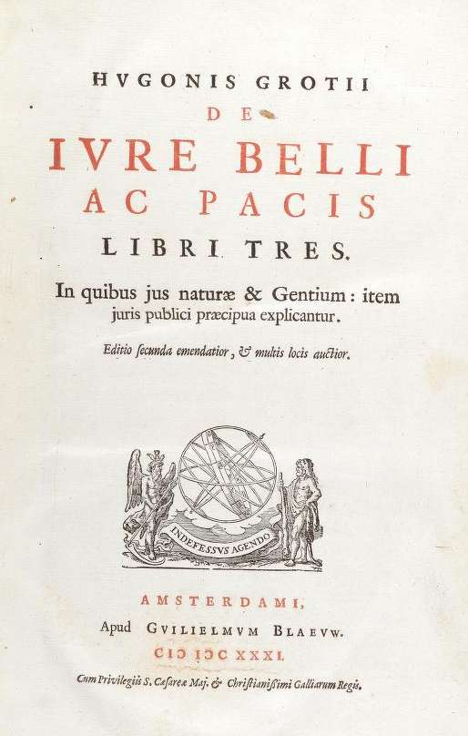 Front page of book De jure belli ac pacis