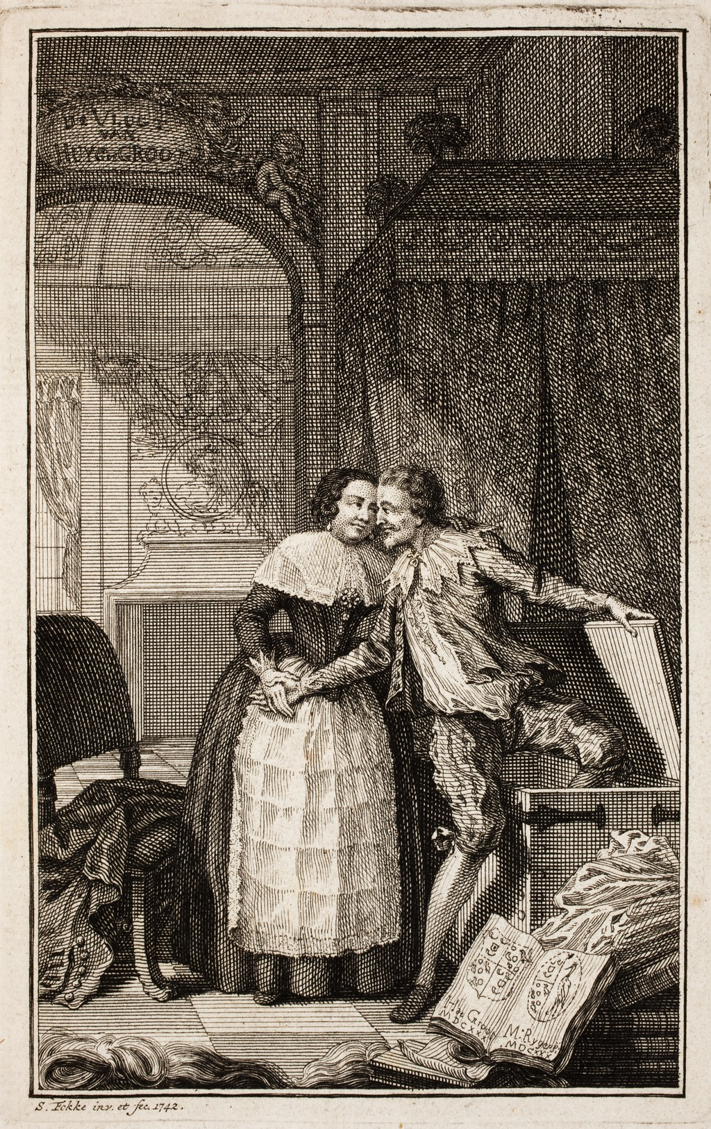Painting showing woman and man looking each other in the eye while man has part of one leg in a trunk