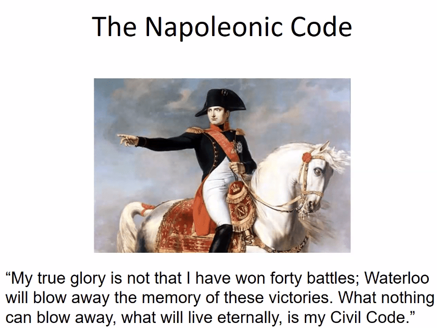 "The Napoleonic Code: ""My true glory is not that i have won forty battles; Waterloo will blow away the memory of these victories. What nothing can blow away, what will live eternally, is my Civil Code."" Includes portrait of Napoleon on a horse."