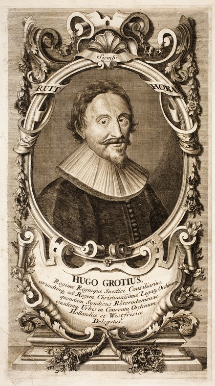 Portrait of Hugo Grotius surrounded by ornate frame