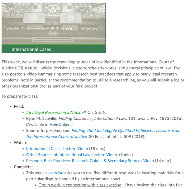Screenshot of course page on International Cases including information to Read, Watch, and Complete.