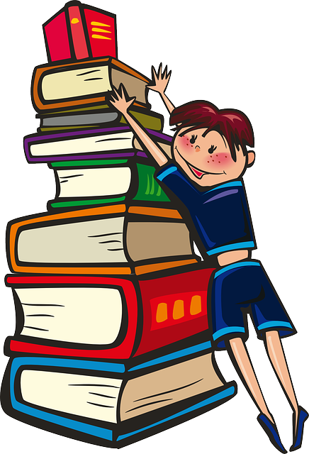 A librarian pushing a tall tower of books.