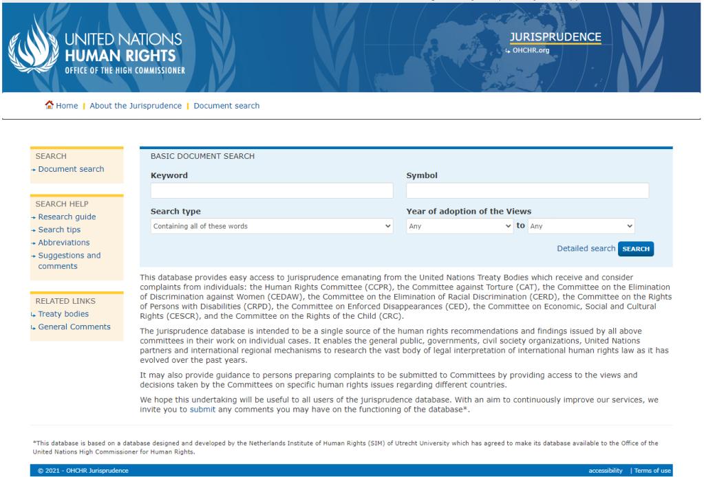 Screenshot of the website https://juris.ohchr.org/