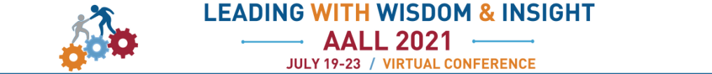 2021 AALL Annual Meeting Logo. Leading with Wisdom and Insight.
