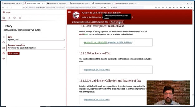 Screenshot of website with History information on the left and references to laws on taxes on the right and and the presenter's image in the bottom right corner.