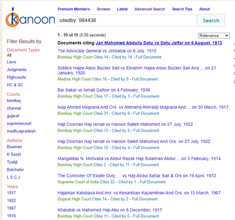 """Screenshot of a search for """"citedby: 984436"""" in the website in India Kanoon"""