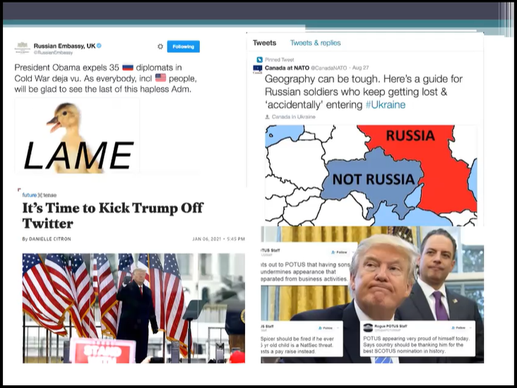 """Tweets on a PowerPoint slide, including a """"lame duck,"""" article on """"It's Time to Kick Trump off Twitter,"""" and a tweet showing a map on what is and isn't Russia"""