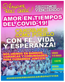 Official poster inviting the Love walk in times of COVID-19 ( El 19 digital )